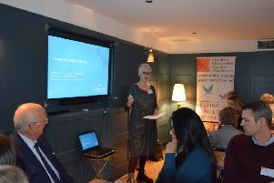 Dorothy Kellas of Gilson Gray solicitors talks to Midlothian and East Lothian Chamber members at The Bonnie Badger in Gullane.