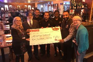 The Bomaby Lounge in Dalkeith raised �500 recently for Alzheimer's Scotland.