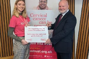 Colin Beattie MSP with Julia Tinsley-Kent from Jo's Cervical Cancer Trust.