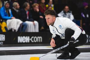 Curler Ross Paterson from Kirkintilloch in action at the World Cup in Sweden (pic by WCF C�line Stucki)