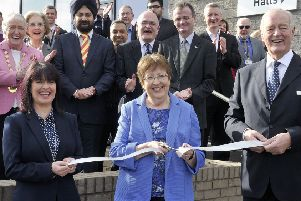 Council officials pictured in 2017 as they opened the Kirkintilloch Community Hub building, which will now operate under reduced hours. Photo Emma Mitchell.