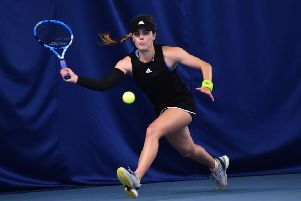 Maia Lumsden in action at Nottingham during her match with Caroline Garcia. (Photo by Nathan Stirk/Getty Images for LTA)
