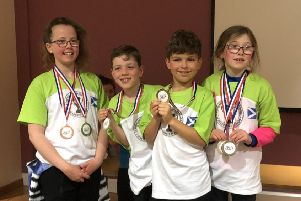 The winning St Nicholas quartet. Left to right are Grace Cameron, Calum Steel, Kacper Prosowski and Isla Cameron.