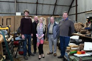 Fergus Walker, Tom Bennett, Samuel Moore and Hugh Pollock welcome CALA's Louise Dunn to Springburn Park Men's Shed