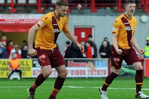Ben Hall (right) celebrates a Motherwell goal against Hamilton during his time at Fir Park