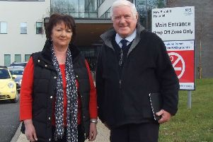 Successful campaign: Rona Mackay MSP and Tom Herbert outside Stobhill Hospital.