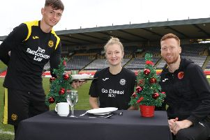 Thistle Festive Friends James Penrice, Rebecca Richardson and community coach Paul Brennan.