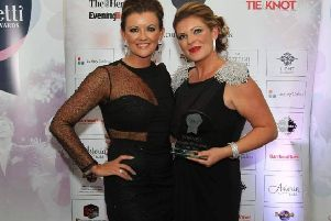 Corrine Thomson (right) with Tracey Ford from F3 Entertainments Ltd after winning the Confetti Wedding Award for Reception Entertainer of the year 2017
