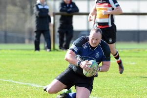 Gary Thornton scores Dalziel Rugby Club's first try against RHC (Pic by Alan Watson)