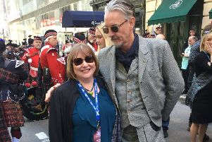Motherwell and Wishaw MSP Clare Adamson meets Sons on Anarchy star Tommy Flanagan on the streets of New York during Tartan Week