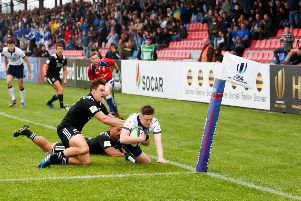 Josh Henderson scores a try for Scotland in their 42-20 loss to New Zealand on day one of the World Rugby U20 Championship 2017 in Kutaisi, Georgia.