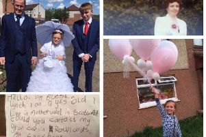 (clockwide from top left) Aleshia Lynch with her grandfather Scott and brother Ian in her first Communion dress, her great-grandmother Cathy Cowan, setting off the ballons and her note with was found by Shona Taylor