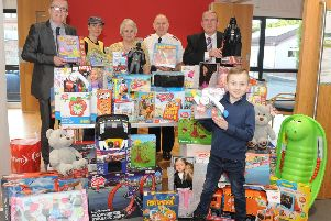 Charity champion Ray Mitchell �1000 worth of toys to the appeal at Bellshill Salvation Army Hall raised from running a raffle at Bellshill Post Office every week. She would like to thank all the customers of the post office as well as Lawmuir Stores and Sandy Cooper Butchers for their kind donations. Pic: Jamie Forbes