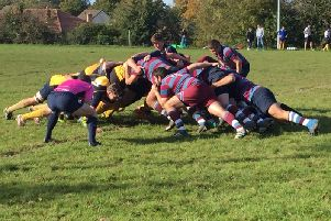 Uddingston and Strathaven battle it out in the scrum