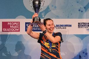 Kirsty Gilmour holds aloft Scottish Open women's singles trophy