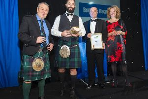 CuanTec founder Ryan Taylor (second, left) receives the award from (l-r) BBC Scotland TV and radio presenter and wildlife expert Euan McIlwraith, Balfour Beatty's head of environment Poul Wend Hansen and TV presenter, writer and naturalist Kate Humble. Pic: Simon Williams Photography Edinburgh