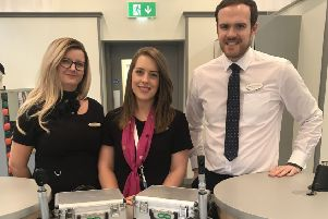 Hannah McIntyre (centre) with Specsavers Bellshill store directors Kirsteen Newman and Douglas Waugh