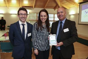 Prater Contracts director Stephen Prater (right) with  Chris Lawlor of Lawlor Technologies and Kate Forbes MSP