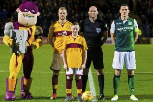 Nathan Pearce is pictured pre-match with key figures including Wells Richard Tait (Pic courtesy of Motherwell FC)