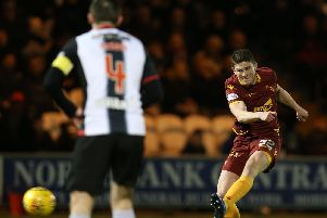 Jake Hastie thumps home Motherwell's opener against St Mirren on Wednesday night (Pic by Ian McFadyen)