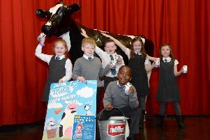 Bella the cow helps launch the new North Lanarkshire-wide initiative to encorage primary school pupils to drink more milk