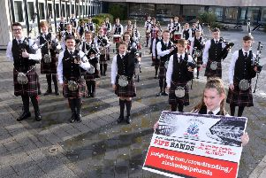 Mollie Jeffrey (front) helps launch the North Lanarkshire Schools' Pipe Bands crowdfunding campaign as it looks to reach a final total of �80,000 for equipment and travel costs