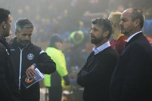 Managers Steve Clarke and Stephen Robinson at a misty Rugby Park on Wednesday night (Pic by Ian McFadyen)