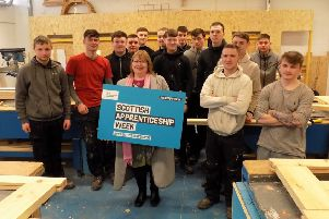 Motherwell and Wishaw MSP Clare Adamson meets joinery modern apprentices at New College Lanarkshire