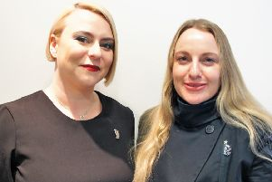 Uddingston hairdresser Diana Carson (right), with fellow Scot Leigh Kerr, who will be travelling to the Philippines next month