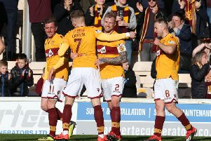 From left: Cadden (2nd left) with (from left) Frear, Tait and Campbell at celebrations for Taits late goal (Pic by Ian McFadyen)
