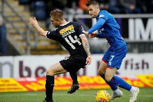 Liam Polworth (right) in action in a Scottish Championship match against Falkirk back in January (Pic by Michael Gillen)