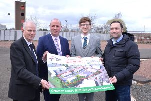 Pictured at the development site in Orbiston Street, Motherwell, are (l-r)  Councillor Allan Graham, David Baird (NL Properties), Fraser Morrison (Young Enterprise Scotland) and Ross Brand (New College Lanarkshire)