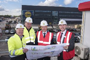 Lidl GB's Gordon Raffertyand Ross Millar welcome Graham Simpson MSP and Neil Gray MP  for a tour of the site of the new warehouse at Eurocentral