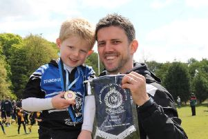Dalziel Rugby Club head coach Graham Calder with his son Alan (Submitted pic)