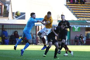 Jake Hastie heads home one of the two goals he scored for Motherwell in a 3-0 Fir Park win over Livingston on February 2, the last time the two sides met in the league (Pic by Ian McFadyen)