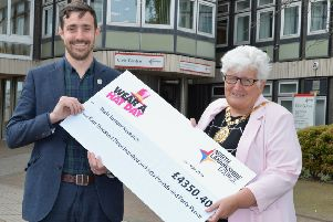 Joe Woolcott, Scottish Community Fundraising Manager for Brain Tumour Research with Provost Jones.