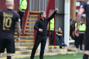 Stephen Robinson encourages his troops against Livingston (Pic by Ian McFadyen)