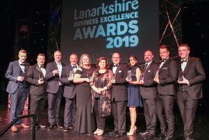 Lanarkshire Business Excellence Awards compere Elaine C Smith with the winners
