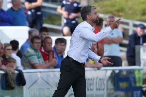 Motherwell gaffer Stephen Robinson encourages his troops at Queen of the South (Pic by Ian McFadyen)