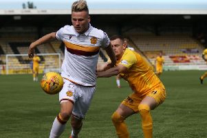 Motherwell's James Scott in action at Livingston on Saturday (Pic by Ian McFadyen)