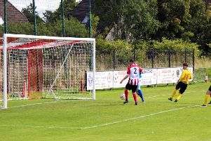 Stewarts deflected goal puts Bellshill Athletic ahead at Larkhall Thistle (Pic by Brian Closs)