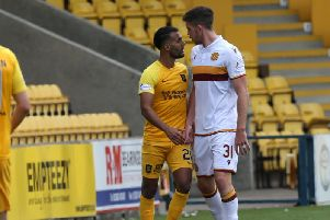 Declan Gallagher (right) in action for Motherwell against his old team Livingston earlier this season (Pic by Ian McFadyen)