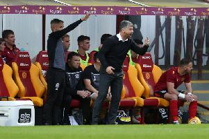 Stephen Robinson and Keith Lasley in the Fir Park dugout during the league cup tie between Motherwell and Hearts earlier this season (Pic by Ian McFadyen)
