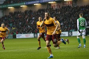 Liam Polworth celebrates putting Motherwell 1-0 ahead at Easter Road on Saturday (Pic by Ian McFadyen)