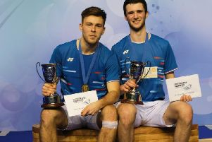 Alex Dunn (left) and Adam Hall with their Scottish Open prizes