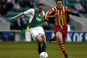 Tam McManus in action for Hibs, whom he served between 1997 and 2005
