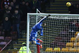 Mark Gillespie makes a stunning save in Motherwells 2-1 home defeat by Hamilton Accies on December 29 (Pic by Ian McFadyen)