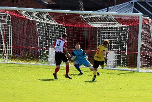 Action from Bellshill Athletics 2-0 win at Larkhall Thistle in September (Pic by Brian Closs)