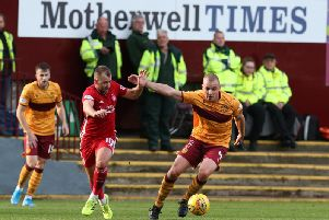 Liam Grimshaw in action for Motherwell against Aberdeen earlier this season (Pic by Ian McFadyen)