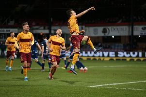 Hat-trick hero Chris Long leaps up and punches the air in delight to celebrate (Pic by Ian McFadyen)